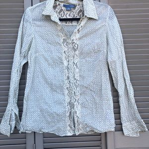 Anthro lil mini floral lace panel button up top